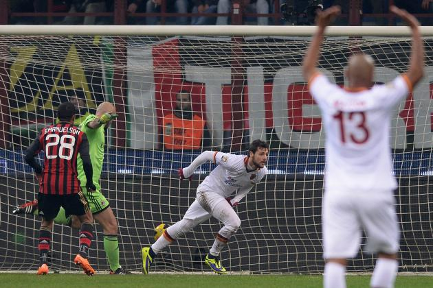 Mattia Destro Scores for Roma Against AC Milan in Serie A