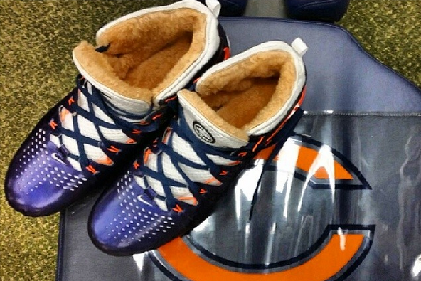 Brandon Marshall's Furry Cleats Keep His Feet Warm