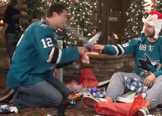 Marleau and Burns Swordfight...