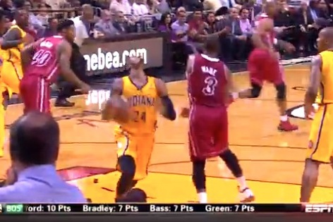 Paul George Flops, Draws Foul on Dwyane Wade