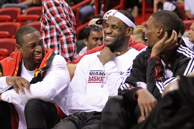 LeBron James and Dwyane Wade Videobomb Chris Bosh with Human Wheelbarrow