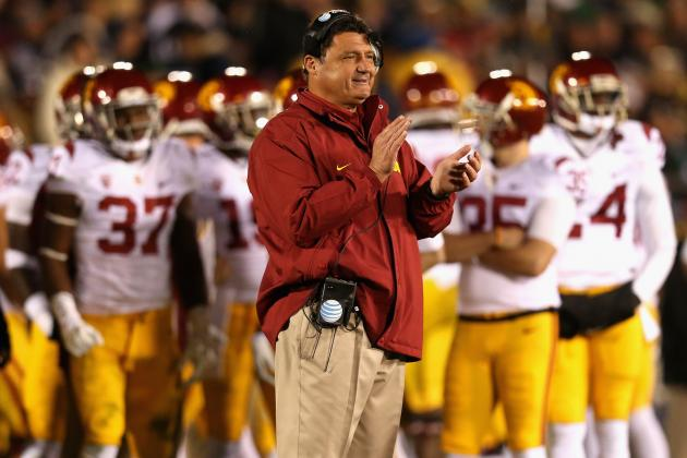 First Major Recruit Steve Sarkisian Can Bring to USC Is Ed Orgeron