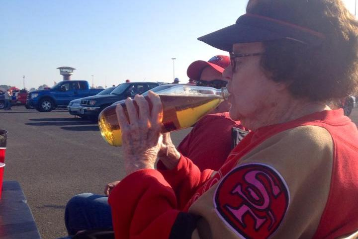 Elderly Woman Drinks Malt Liquor, Tailgates for 49ers Game Like a Boss