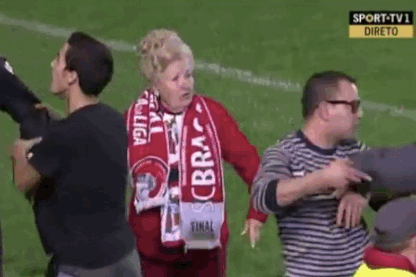 Granny Pitch-Invader Escorted off the Field in Portugal