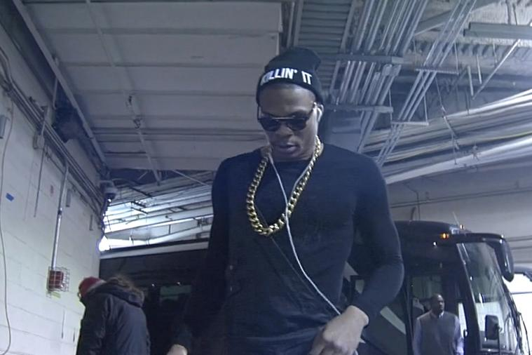 Russell Westbrook Is 'Killin' It' in One-Sided Leather Overalls
