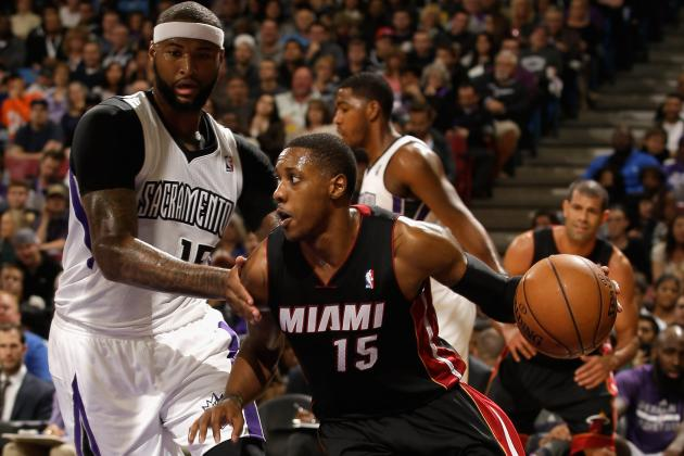 Mario Chalmers Knocks over DeMarcus Cousins with Flagrant Foul