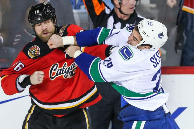 Video: Flames' McGrattan Tossed from Game for Hit on Canucks'Alberts
