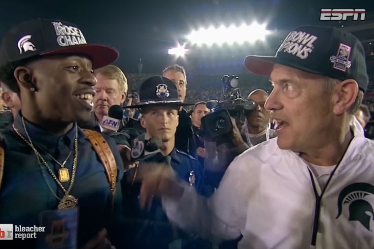 Spartans Coach Mike Dantonio Dodges Gatorade Bath, Talks Rich Homie Quan
