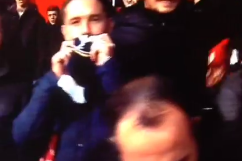 Manchester United Fan Accidentally Kisses Spurs Side of His Half-and-Half Scarf