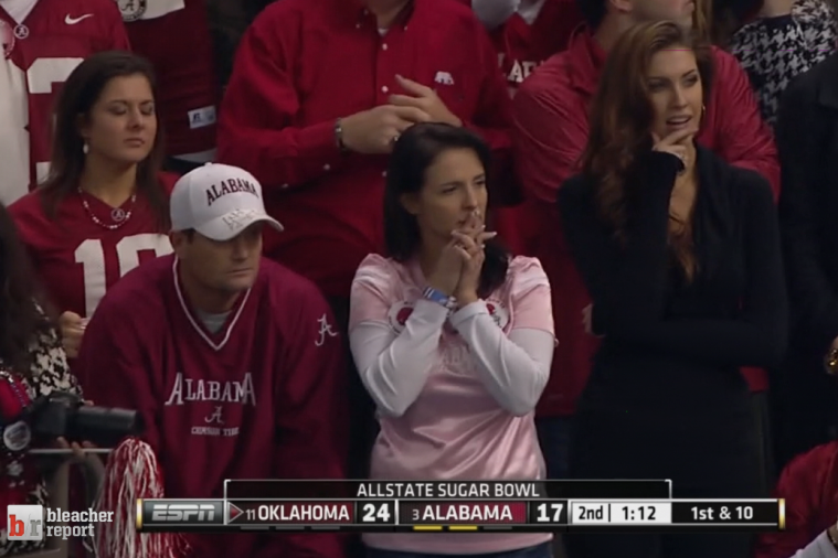 AJ McCarron's Interception Results in a Katherine Webb Struggle Face