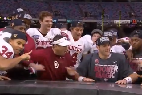 Oklahoma Players Break ESPN's Stage After Sugar Bowl Victory
