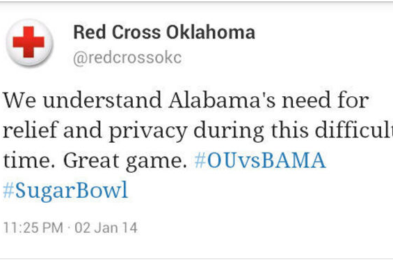 Red Cross Oklahoma Trolls Alabama on Twitter Following Sugar Bowl Loss