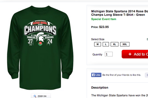 Photo: Michigan State Rose Bowl Shirts Have the Wrong Score