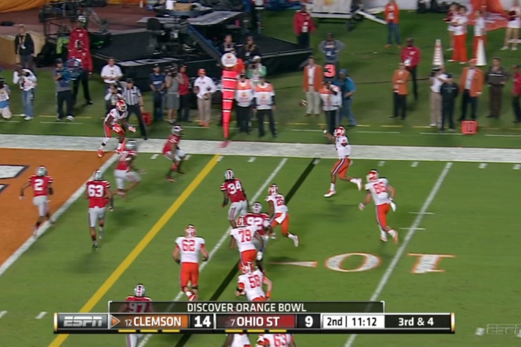 Tajh Boyd Intercepted on Impressive Grab from Vonn Bell in Orange Bowl