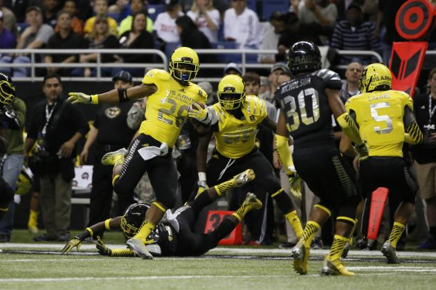 5-Star RB Joe Mixon Scores, Flashes Money Manziel Sign at Army All-American Bowl