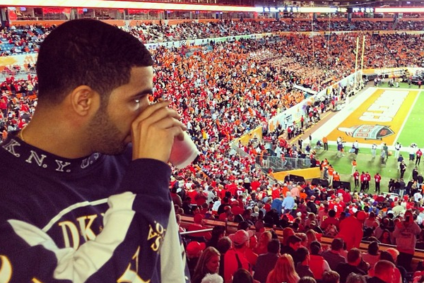 Rapper Drake Enjoyed Himself at the Orange Bowl