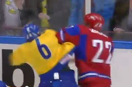 Sweden, Russia Hockey Throw Down
