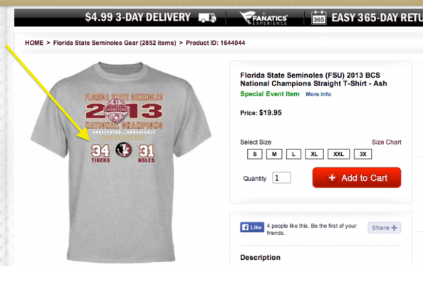 Florida State's BCS National Championship Shirts Had Auburn Winning