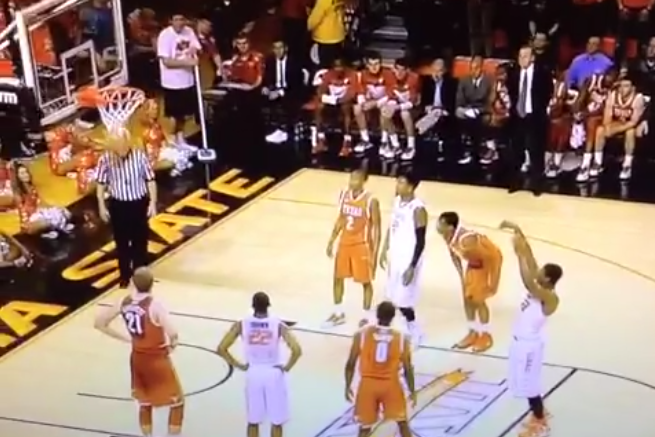 Oklahoma State's Marcus Smart Air-Balls a Free Throw