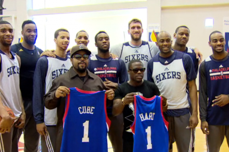 Kevin Hart and Ice Cube Show 76ers How It's Done, Shoot Buckets with the Team