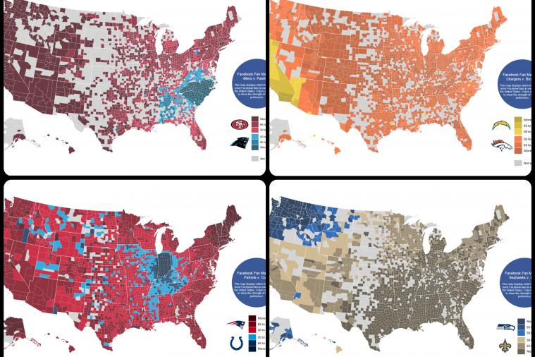 Facebook Fandom Maps for NFL Divisional Round Playoff Matchups