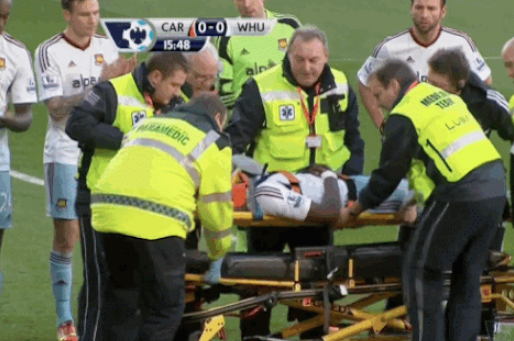 GIF: West Ham's Guy Demel Carried off on a Stretcher at Cardiff City