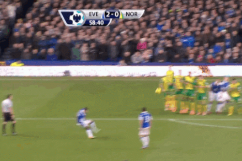 GIF: Kevin Mirallas Doubles Everton's Lead with Free Kick Against Norwich City