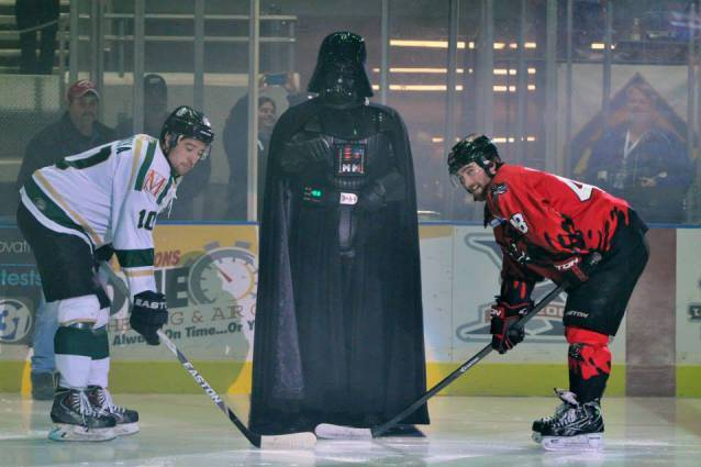 Darth Vader Drops Puck at Minor League Hockey Game for Star Wars Night