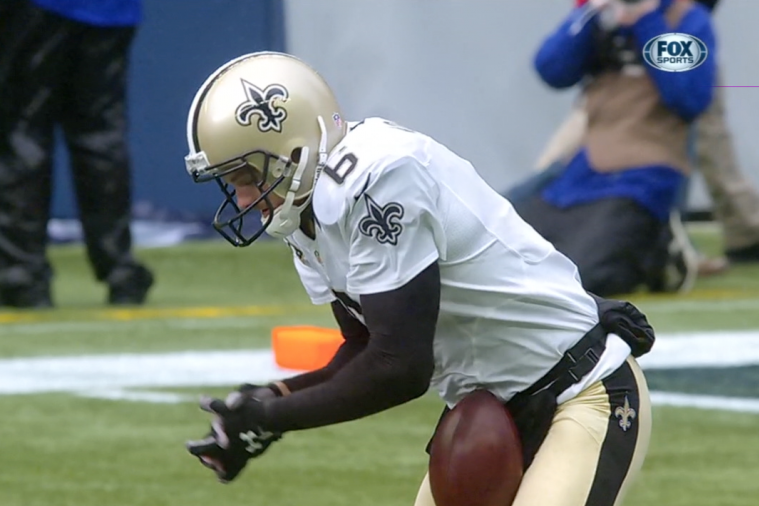 Saints Punter Thomas Morstead Gets Hit Below Belt with Ball, Shanks Punt