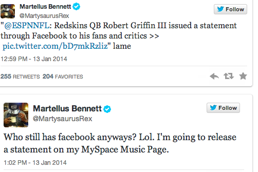 Bears' Martellus Bennett Goes in on RG3's Facebook Update
