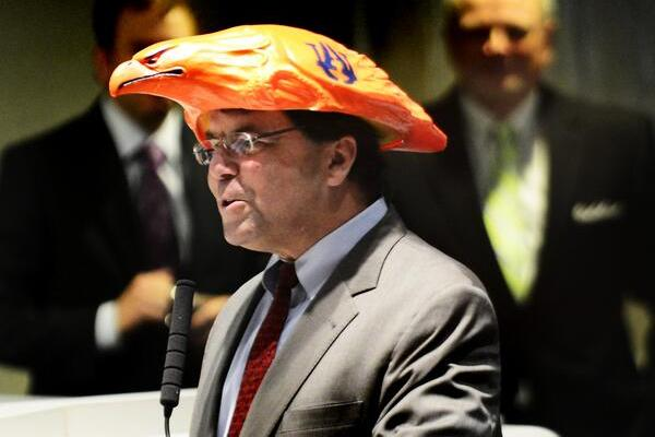 Alabama Senator Roger Bedford Loses Bet, Wears War Eagle Hat on the Job