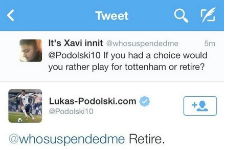 Lukas Podolski Would Rather Retire Than Play for Tottenham