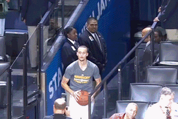 Stephen Curry Casually Knocks Down Shot from the Tunnel Before Playing Denver
