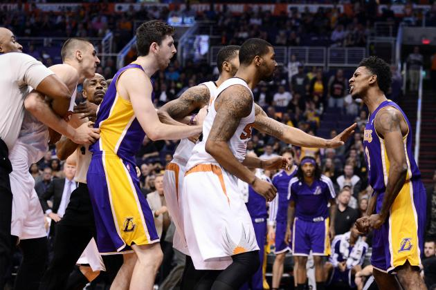 Lakers' Nick Young Goes Postal After Getting Fouled Hard by Suns' Alex Len