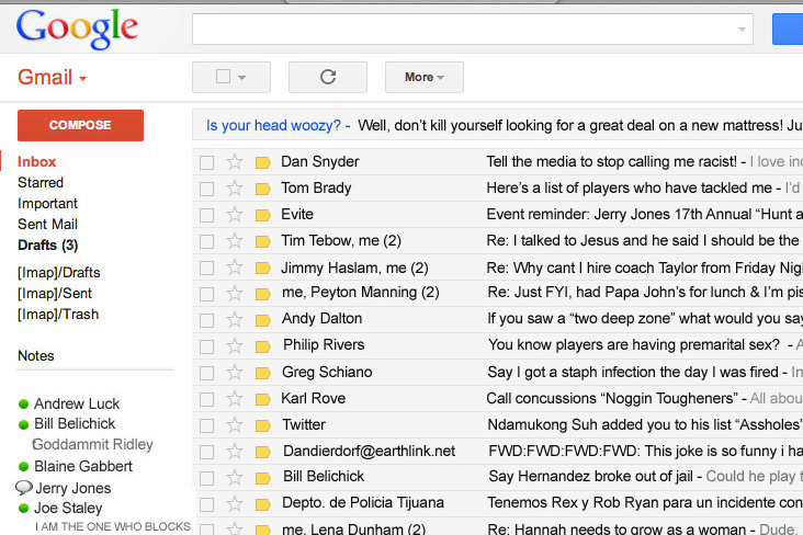 Grantland Creates Hilarious NSFW Spoof of Roger Goodell's Email Inbox