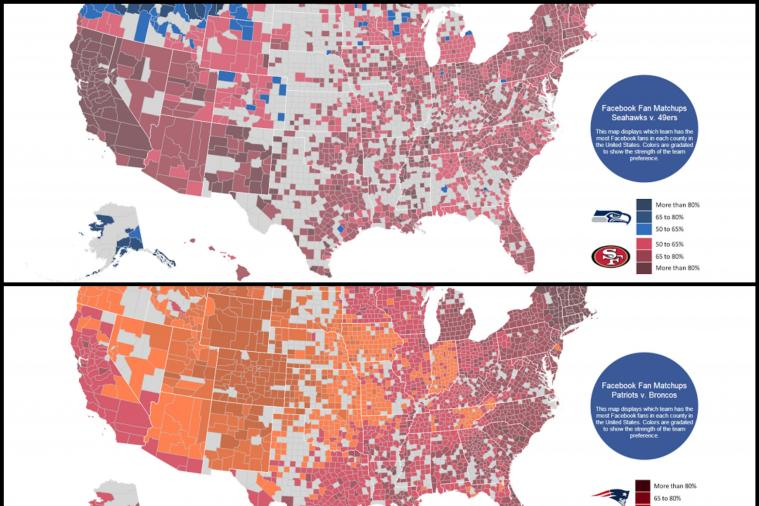 Facebook Fandom Maps for NFL Conference Championship Games