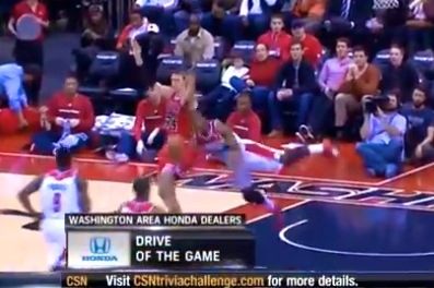John Wall Makes Spinning/Falling Circus Shot for the Ages