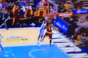 Kenneth Faried Devours Dion Waiters' Fast-Break Layup Attempt