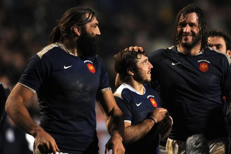 3 French Rugby Players Look Like Proud Fathers and Son