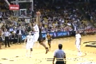 Colorado Guard Askia Booker Skies to Block Dunk Attempt from USC 7-Footer