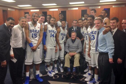 Former President Bush Visits Blue Devils in Locker Room