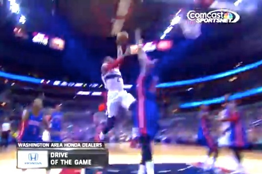 John Wall Throws Down on Detroit Pistons' Greg Monroe