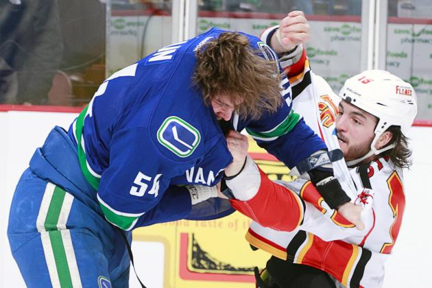 Vancouver's Kellan Lain Ejected After Two Seconds in NHL Debut