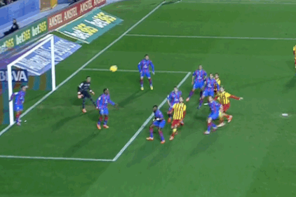 GIF: Gerard Pique Scores for Barcelona vs. Levante