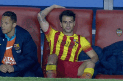 GIF: Barcelona's Cesc Fabregas Pouts After Being Substituted vs. Levante