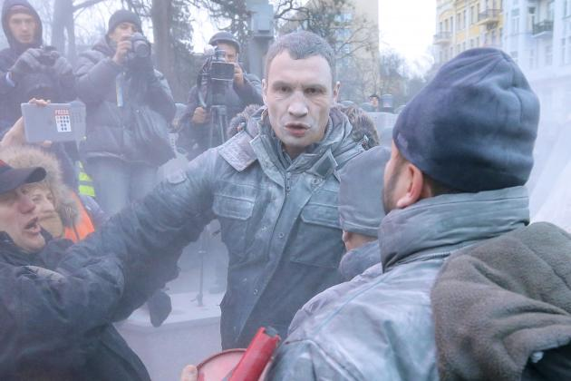 Vitali Klitschko Sprayed by Fire Extinguisher Trying to Stop Fight with Police