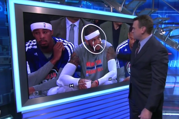 Tim Legler Uses Telestrator to Put Tears and Frown on Carmelo Anthony