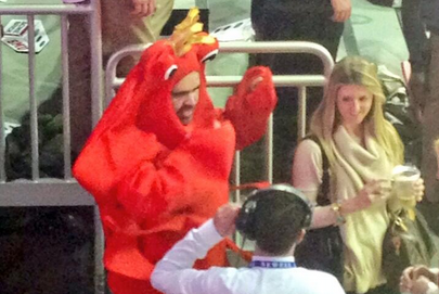 SMU Prez Rocks Lobster Suit at Rutgers Game