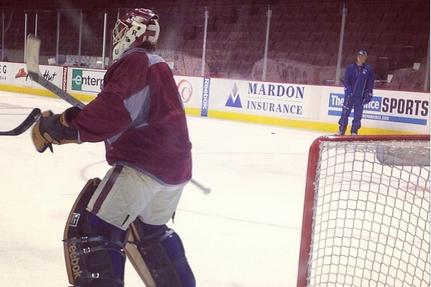 Instagram: Luongo in Heritage Classic Gear at Practice