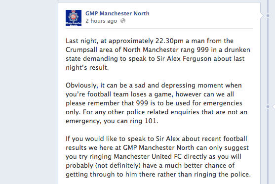 Drunk Manchester United Fan Rings 999 to Talk to Sir Alex Ferguson After Defeat